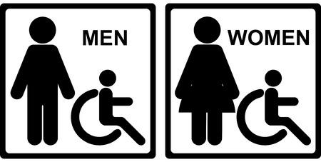 mannen en vrouwen: Zwart Vierkant WC of Toilet met mannen, vrouwen en Handicap teken geïsoleerd op een witte achtergrond