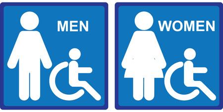 mannen en vrouwen: Blue Square WC of Toilet met mannen, vrouwen en Handicap teken geïsoleerd op witte achtergrond