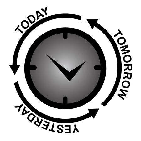 Business and Finance or Time Management Concept Present By Clock With Today, Tomorrow and Yesterday Arrow Around Isolated on White Background  photo
