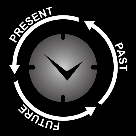 Business and Finance or Time Management Concept Present By Clock With Present, Past and Future Arrow Around Isolated on Black Background