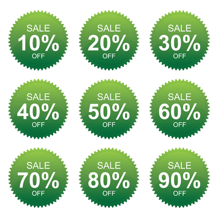 Green Sale 10 - 90 Percent OFF Discount Label Tag Isolated on White Background  photo