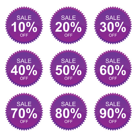 Violet Sale 10 - 90 Percent OFF Discount Label Tag Isolated on White Background  photo