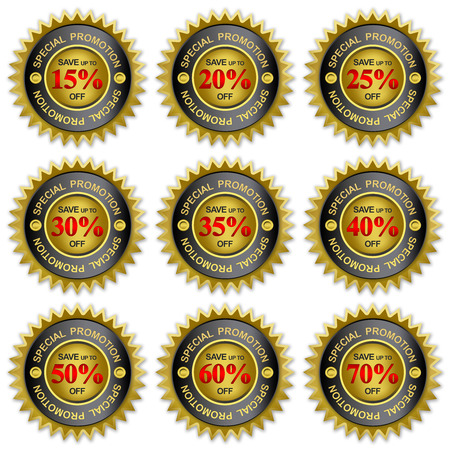 Save Up To 15 - 70 Percent Off On Black and Golden Metallic Price Tag Sticker For Special Promotion Campaign Isolated on White Background  photo