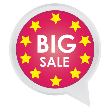 Season Sale Sticker or Label Present By Big Sale on Pink Icon Isolated on White Background  photo