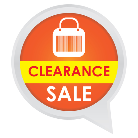 grand sale sticker: Season Sale Sticker or Label Present By Clearance Sale on Orange Icon Isolated on White Background  Stock Photo