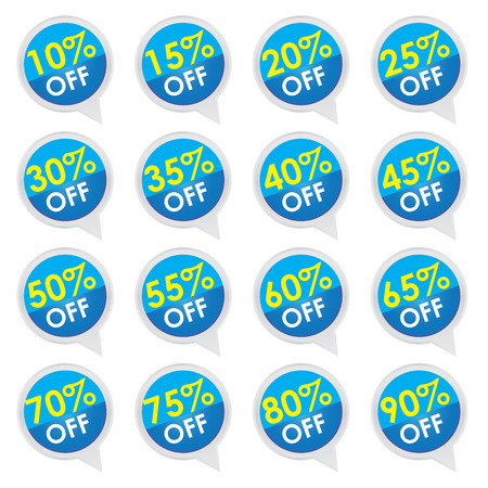 Sticker or Label For Marketing Campaign, 10-90  Off With Blue Icon Isolated on White Background  photo