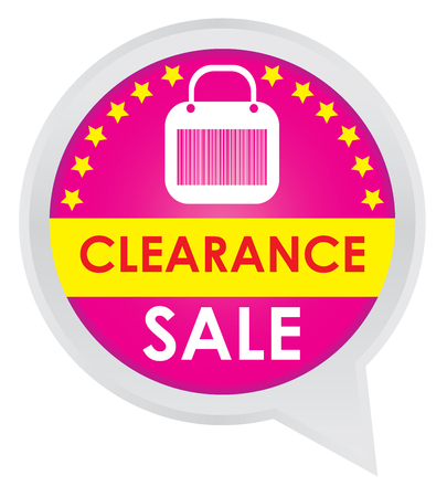 grand sale sticker: Season Sale Sticker or Label Present By Clearance Sale on Pink Icon Isolated on White Background