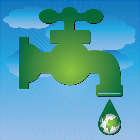 Save Water Concept Present By Green Water Tap and Water Droplet With The Green Planet Earth Inside in Blue Sky Background  photo