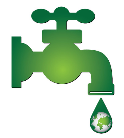 Save Water Concept Present By Green Water Tap and Water Droplet With The Green Planet Earth Inside Isolated on White Background photo