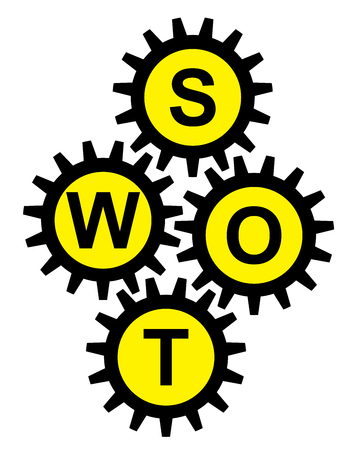 SWOT Analysis For Business Strategy Management Concept Present By Black Gear With Yellow S, W, O, T Icon Inside Isolated on White Background  photo