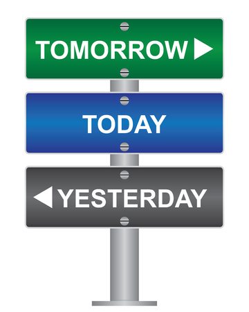 Business and Time Management Concept Present By Green, Blue and Gray Street Sign Pointing to Tomorrow, Today and Yesterday Isolated On White Background  photo