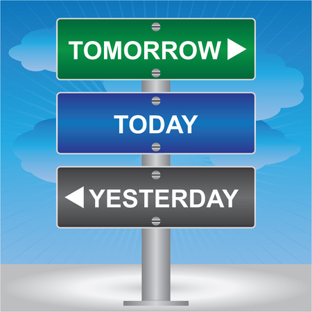 Business and Time Management Concept Present By Green, Blue and Gray Street Sign Pointing to Tomorrow, Today and Yesterday in Blue Sky Background  photo