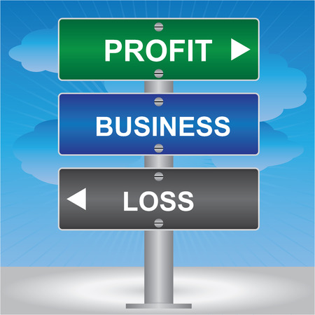 Business and Finance Concept Present By Green, Blue and Gray Street Sign Pointing to Profit, Business and Loss in Blue Sky Background  photo