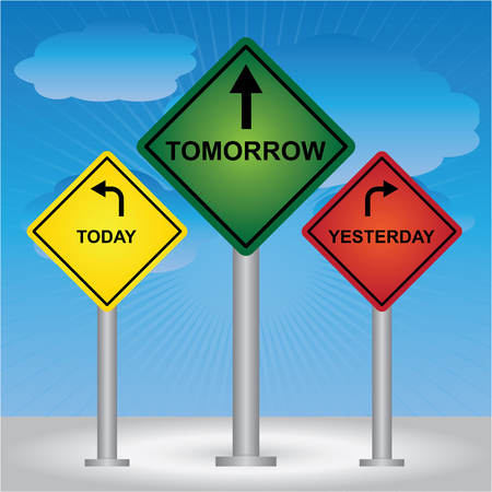 Business and Finance Concept Present By Rhombus Yellow, Green and Red Street Sign Pointing to Today, Tomorrow and Yesterday in Blue Sky Background  photo