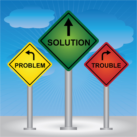 Business and Finance Concept Present By Rhombus Yellow, Green and Red Street Sign Pointing to Problem, Solution and Trouble in Blue Sky Background  photo
