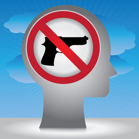 Stop Violence Or No Gun Prohibited Sign Present By Head With No Gun Sign Inside in Blue Sky Background  photo