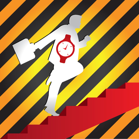 walking zone: Business Solution and Time Management Concept Present By The Businessman With Time Watch Walking Upstairs for Best Vision in His Business in Caution Zone Dark and Yellow Background  Stock Photo