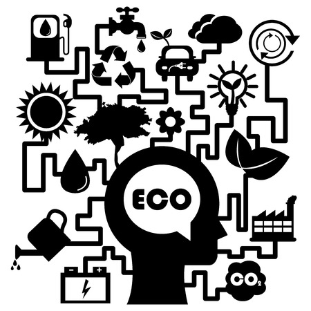 Save The Earth, Stop Global Warming or Recycle Concept Present By The Human Head With Group of Ecology or Nature Icon Isolated on White Background  photo