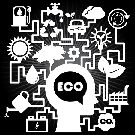 Save The Earth, Stop Global Warming or Recycle Concept Present By The White Human Head With Group of Ecology or Nature Icon in Black Shiny Background  photo