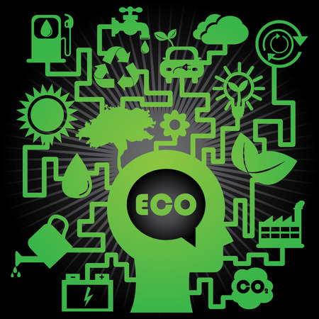Save The Earth, Stop Global Warming or Recycle Concept Present By The Green Human Head With Group of Ecology or Nature Icon in Black Shiny Background  photo