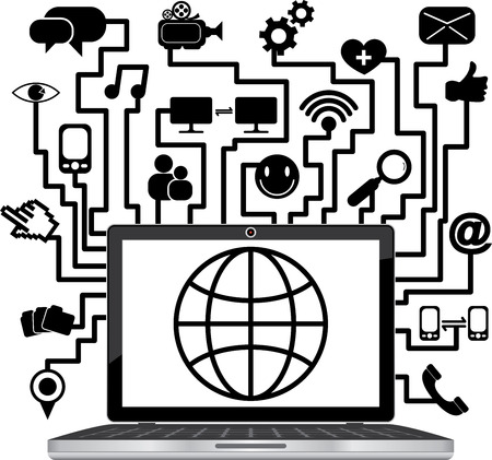 Social Network or Social Media Concept Present By Computer Laptop or Computer Notebook With The Earth on Screen and Group of Online Communication Icon Isolated on White Background  photo