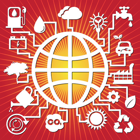 Save The Earth, Stop Global Warming or Recycle Concept Present By The Earth With Group of Ecology or Nature Icon in Red Shiny Background  photo
