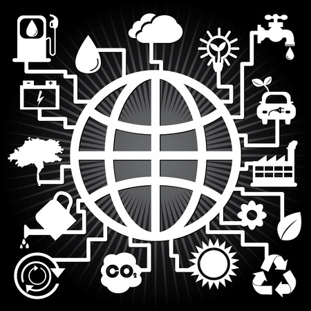 Save The Earth, Stop Global Warming or Recycle Concept Present By The Earth With Group of Ecology or Nature Icon in Black Shiny Background  photo