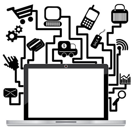 ecommerce: Online Business and E-Commerce Concept Present By Computer Laptop or Computer Notebook With Blank Screen and Group of E-Commerce Icon Isolated on White Background