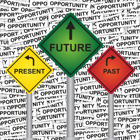 Business and Finance or Time Management Concept Present By Rhombus Yellow, Green and Red Street Sign Pointing to Present, Future and Past in Opportunity Label Background  photo