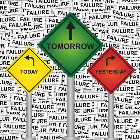 Business and Finance or Time Management Concept Present By Rhombus Yellow, Green and Red Street Sign Pointing to Today, Tomorrow and Yesterday in Failure Label Background  photo