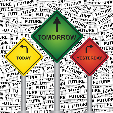 Business and Finance or Time Management Concept Present By Rhombus Yellow, Green and Red Street Sign Pointing to Today, Tomorrow and Yesterday in Future Label Background  photo