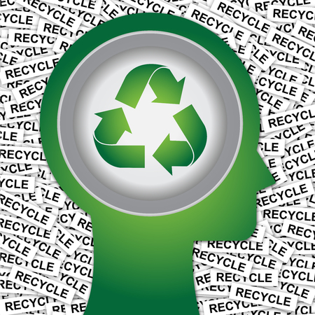 stop global warming: Graphic For Save The Earth or Stop Global Warming Concept Present By Green Head With Recycle Sign Inside With Group of Recycle Label Background