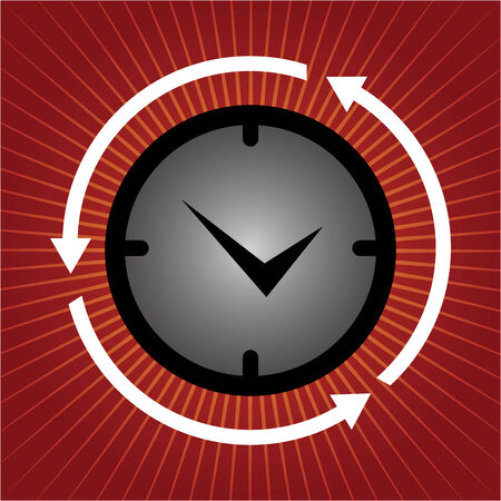 Business and Finance or Time Management Concept Present By Clock With Arrow Around in Red Shiny Background  photo