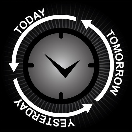 Business and Finance or Time Management Concept Present By Clock With Today, Tomorrow and Yesterday Arrow Around in Black Shiny Background  photo