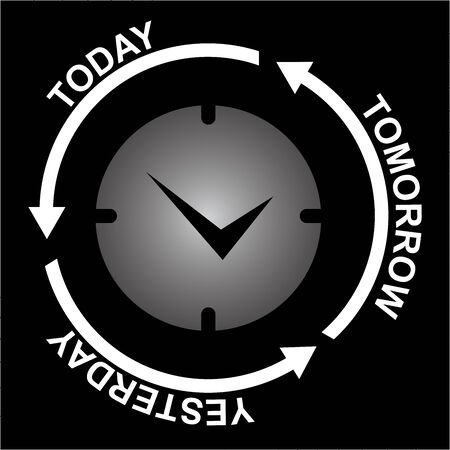 Business and Finance or Time Management Concept Present By Clock With Today, Tomorrow and Yesterday Arrow Around Isolated on Black Background  photo