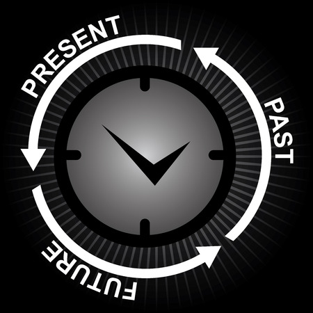 Business and Finance or Time Management Concept Present By Clock With Present, Past and Future Arrow Around in Black Shiny Background photo
