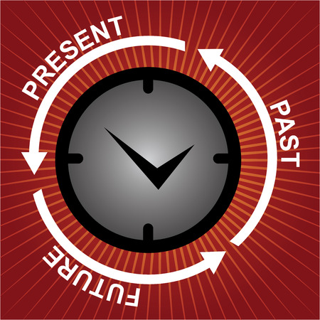 Business and Finance or Time Management Concept Present By Clock With Present, Past and Future Arrow Around in Red Shiny Background  photo