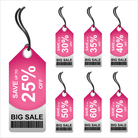 Price Tag for Marketing Campaign Present By Pink 25 - 70 Percent OFF Big Sale Price Tag Isolated on White Background  photo