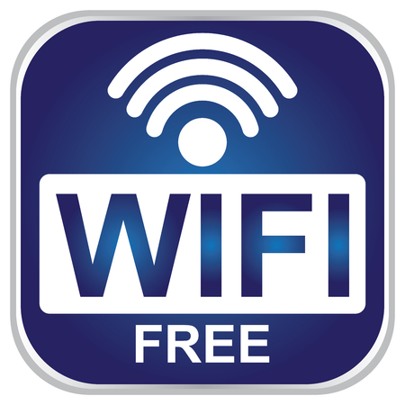 Wifi Free Sign With Blue Icon Isolated on White Background
