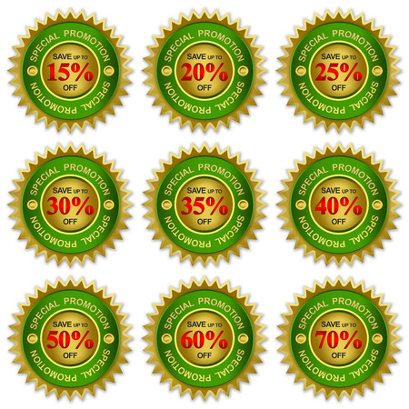 Green and Golden Metallic Price Tag Sticker For Autumn Sale Campaign With Save Up To 15 - 80 Percent Off Isolated on White Background  photo