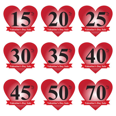 70 s: Red 15 - 70 Percent OFF Valentine s Day Sale Price Tag Isolated on White Background  Stock Photo