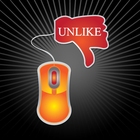 Satisfaction Concept Present By Unlike Icon With Orange Mouse in Black Shiny Background  photo