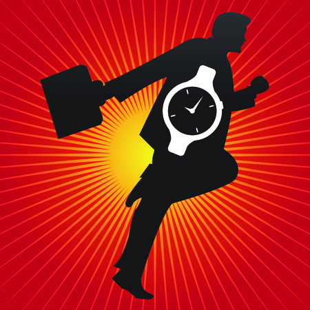 Time Management Concept Present By The Businessman and Hand Watch Inside in Red Shiny Background  photo