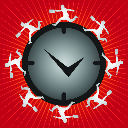 Time Management Concept Present By Group of Businessman Running Around The Clock in Red Shiny  photo