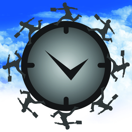 Time Management Concept Present By Group of Businessman Running Around The Clock in Blue Sky  photo