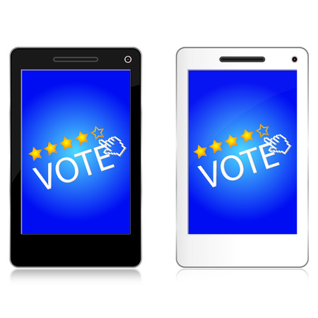 Satisfaction and Voting Concept Present By Black and White Mobile Phone or Smart Phone With Voting Star Icon and Hand Cursor Isolate on White Background