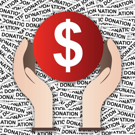 Money Donation Concept Present By Dollar Sign With Hand in Donation Label Background  photo