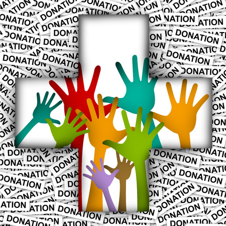 Colorful Raised Hands in Cross Sign For Volunteer and Voting Concept in Donation Label Background  photo