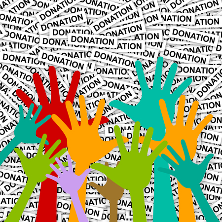 Volunteer and Voting Concept Present With Colorful Raised Hands in Donation Label Background photo