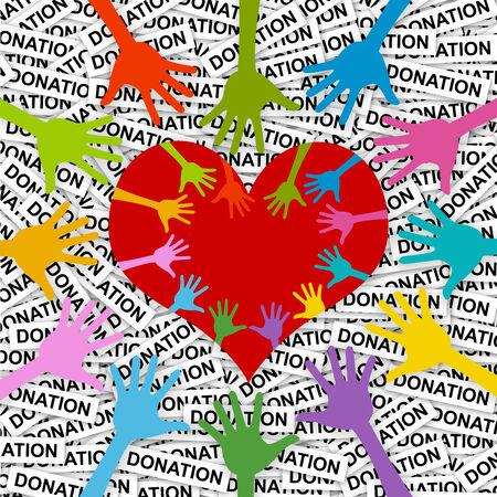 Colorful Hand Around and Inside Red Heart For Volunteer Campaign in Donation Label Background  photo